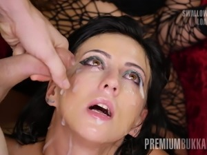 Premium Bukkake - Sherry Vine swallows 66 big mouthful loads