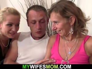 Hairy pussy mature mom rides her husband's cock