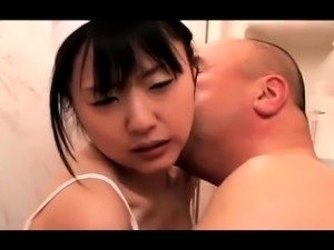 Petite Japanese teen has a horny old man banging her pussy