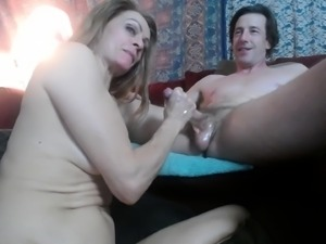 Naughty mature wife sucks and strokes a meat pole on webcam