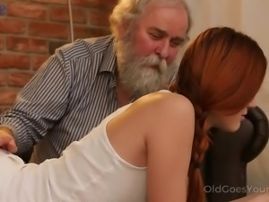 Cute young red haired gal Charli Red sucks hairy old cock