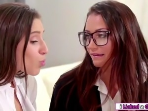 Brunette latina hooks lesbian expert and makes her eat her cunt