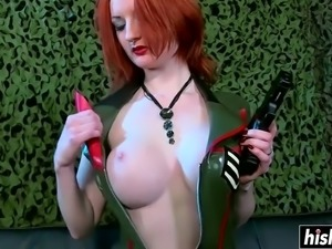 Redhead babe pleases a fat dick