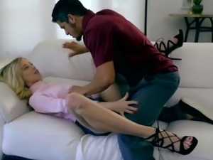 Slender chick with nice small tits Haley Reed sucks dick before being fucked...