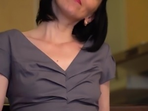 Lusty housewife with bob cut Cherry Despina undresses to tease wet slit