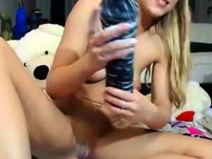 Superhot Blonde Chick Loses The Whole Dildo In Her Ass
