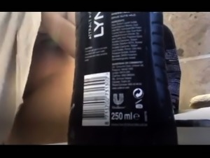 Amateur brunette with big boobs takes a shower on hidden cam