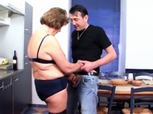 German Vintage Granny Seduce to Fuck by Young Guy in Kitchen