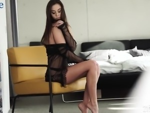 Ardent leggy beauty with tight titties is fond of petting her wet pussy