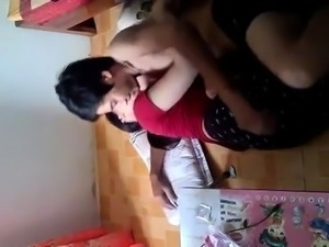 Lustful Indian babe has sex with her boyfriend on hidden cam