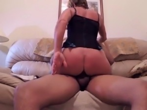 Busty blonde mom in lingerie feeds her lust for black meat