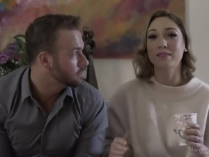 Lovely porn actress Lily Labeau in horny backstage xxx interview