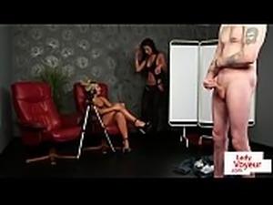 Lingeried femdom duo teasing sub in JOI