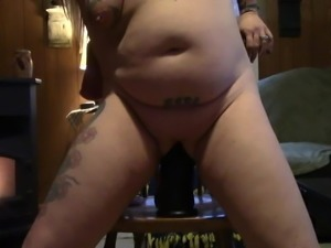 Stretching my pussy with my huge dildo.