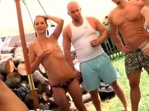 Lustful amateur swingers enjoy hot group sex in the outdoors