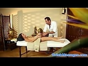 Groped massage babe teased by her masseur