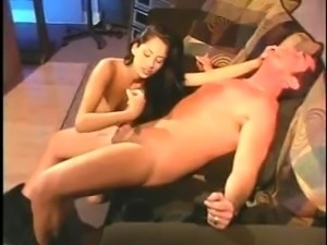 Horny Brunette MILF Gives Handjob Before Blowjob
