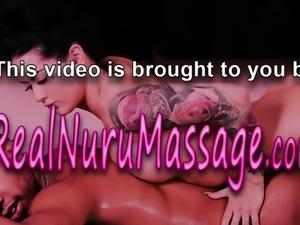 Nuru masseuse cum sprayed