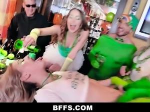 BFFS - Three Besties Sharing On Irish Cock On St Pattys Day