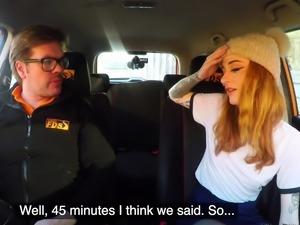 Fake Driving School Slim hot redhead minx fucks