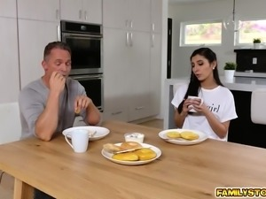 Gianna Dior hops on top and rides her stepdads man meat