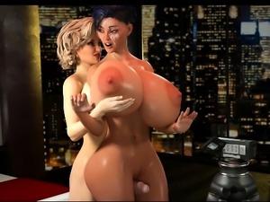 3D Girls Ruined by Big Futanari Dicks!