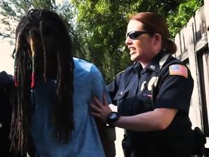 Skinny perv is grabbed by milf cops