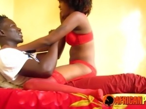 African couple oiled up and fucking hard