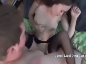 Faty boy cums accidentally in his petite college roommate