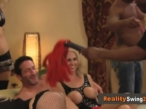 Swinger couple cleans up each other bodies