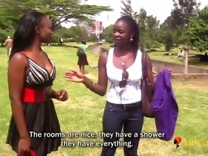 Skinny african students in amateur lesbian sex tape