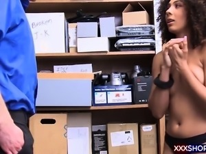 Cute ebony with afro hair gets punish fucked by a cop