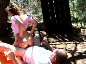 Lusty beauty gets pounded hard in the woods