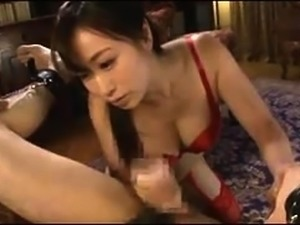 Sensual Japanese babe in lingerie goes wild on a meat pole