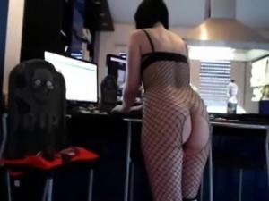 Slut toys her ass with toy and loves it in lingerie