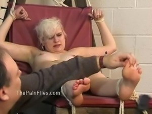 Kinky blondes foot fetish and spanking of crying slave girl Chaos in falaka
