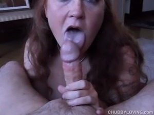 Chubby honey loves to give a super sexy sloppy blowjob