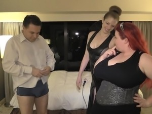 Ballbusting lesson: Lady Victoria NYC and Ms. Summer Storm on Andrea Dipre