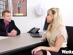 Sexy blonde babe Valerie White hot office fuck