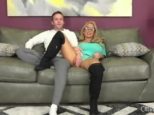 Slutty milf in a sexy pair of black boots fucks wildly