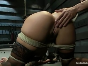 Kinky Asian babe gets hooked in ass and fucked in bondage