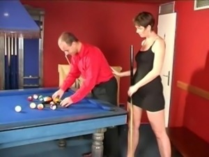 Mature grandmother with small boobs fucking on a pool table
