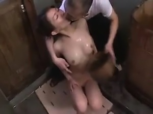 Sweet Oriental lady with nice tits has a horny stud caressi