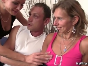 Watching her hubby fucking old mom from behind