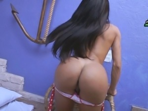 Adorable shemale with the perfect booty reveals the beauty of her dick