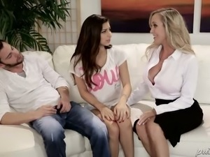 Buxom blond mommy Brandi Love and her kinky BF are gonna give hard sex lesson...