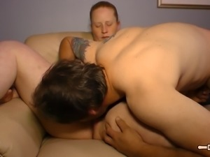 Fat German housewife Jennifer pleasures her man's throbbing dick