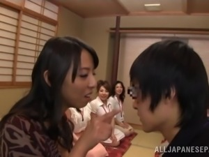 Eri Hosaka rubs her cunt with a dildo in a crazy Japanese reality clip