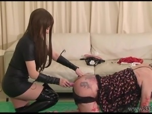 Japanese Mistress LUM Fucking Slave with Strapon Dildo