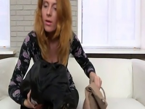 Casting amateur doggystyled by hard cock